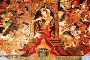 Mara and his temptations, detail from a mural in Wat Dusidaram, a temple in Bangkok, Thailand.