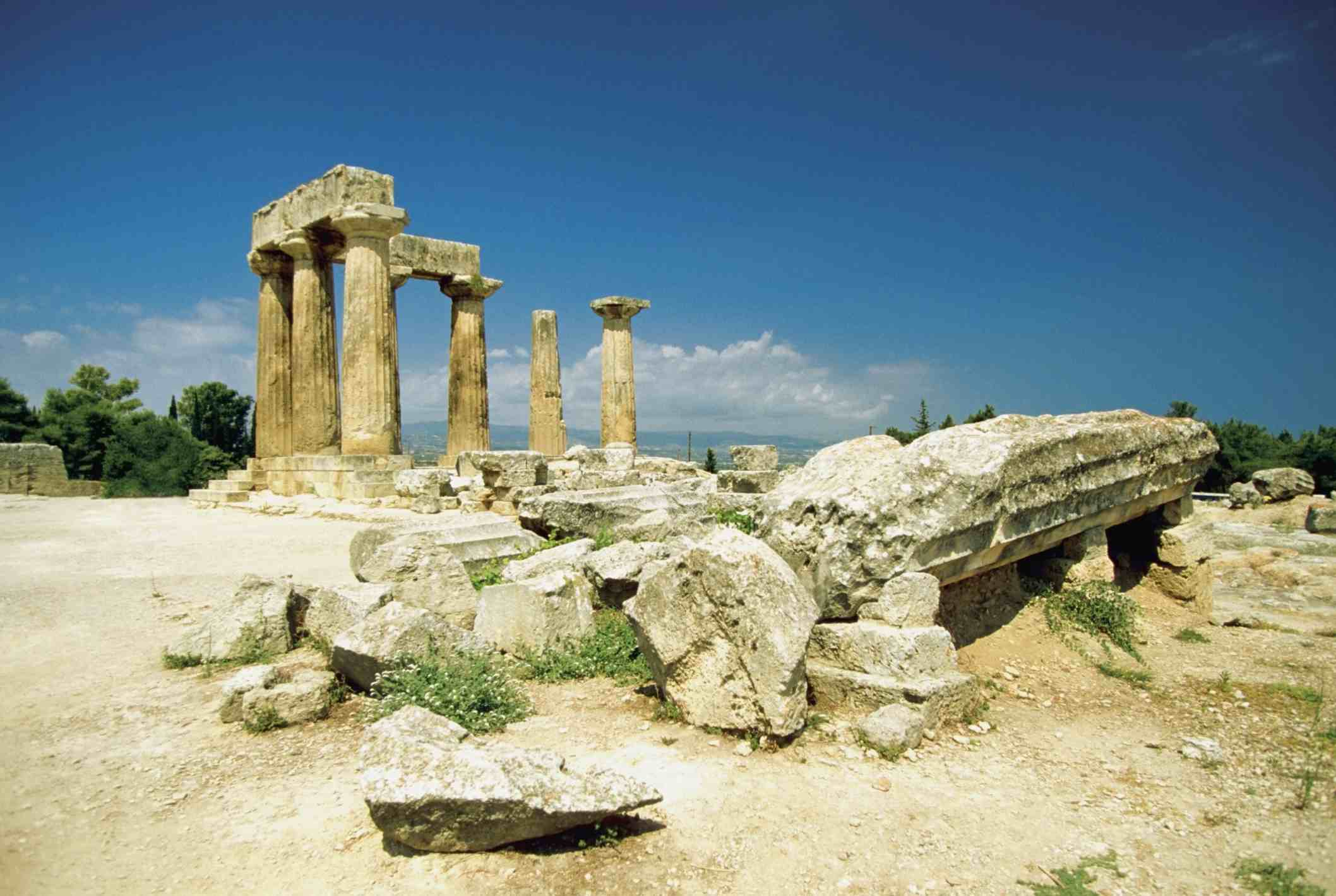 Ruins of the Temple of Apollo in Corinth on the Footsteps of Paul Tour