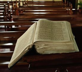 Bible On Pew At Church