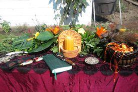 Outdoor altar for summer solstice