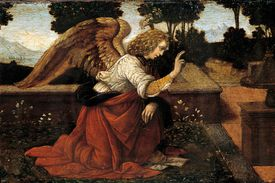 Detail of Gabriel from The Annunciation by Lorenzo di Credi
