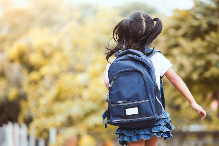 Girl with backpack going to school