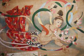 Kannon, the Japanese form of Avalokiteshvara Bodhisattva, depicted in a Japanese temple.