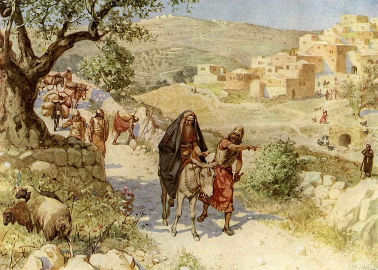 Painting of King David fleeing from Jerusalem.