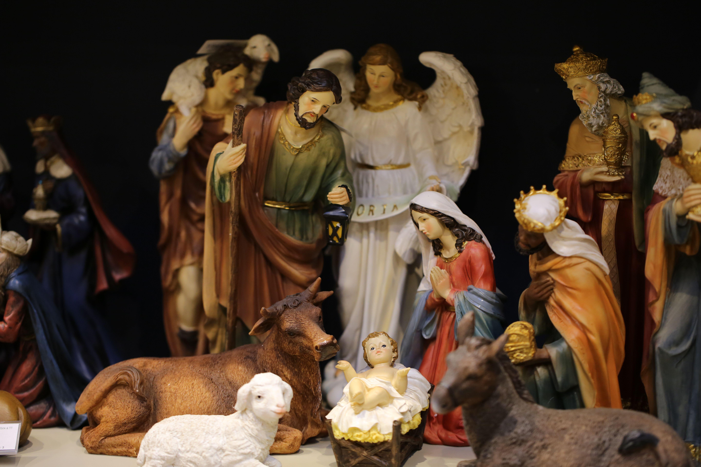Close up of a nativity scene set.
