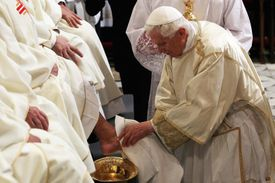 Pope Benedict XVI washes feet during the Mass of the Lord's Supper on Holy Thursday 2012.