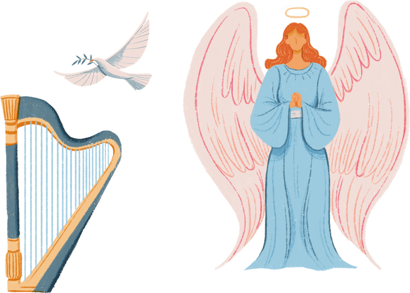 Illustrated symbols of angels, including an angel with a halo, a dove, and a harp.