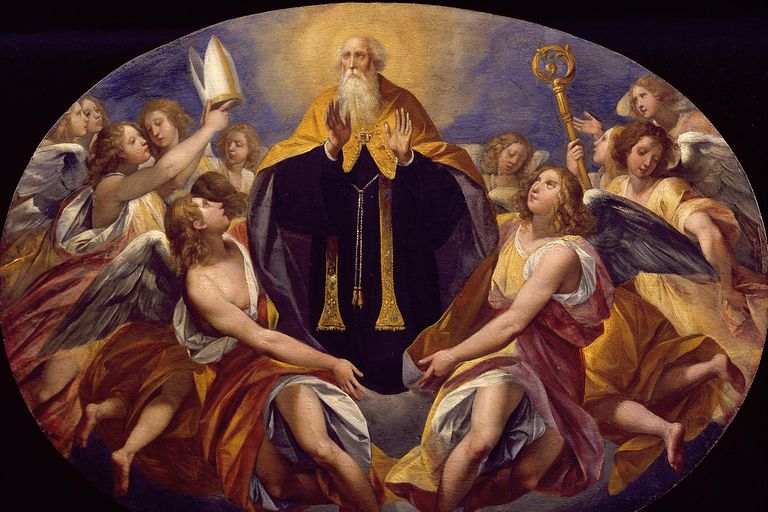 Saint Benedict surrounded by angels.