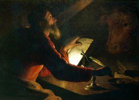 Luke writing his Gospel