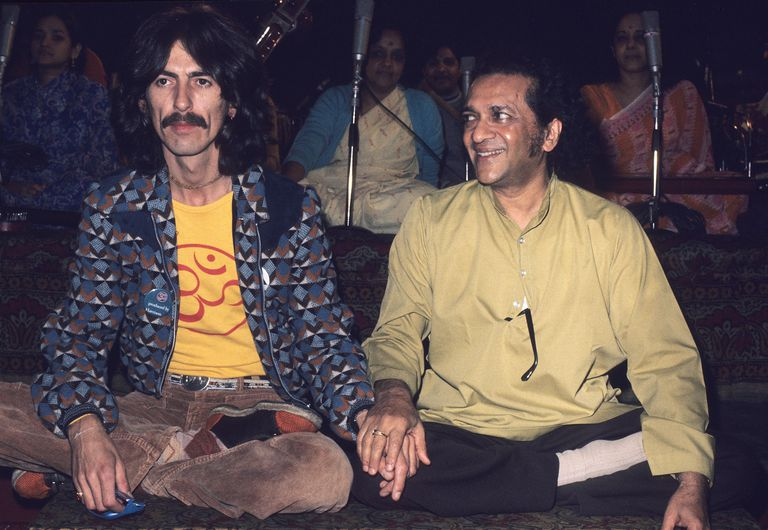 George Harrison and Ravi Shankar.