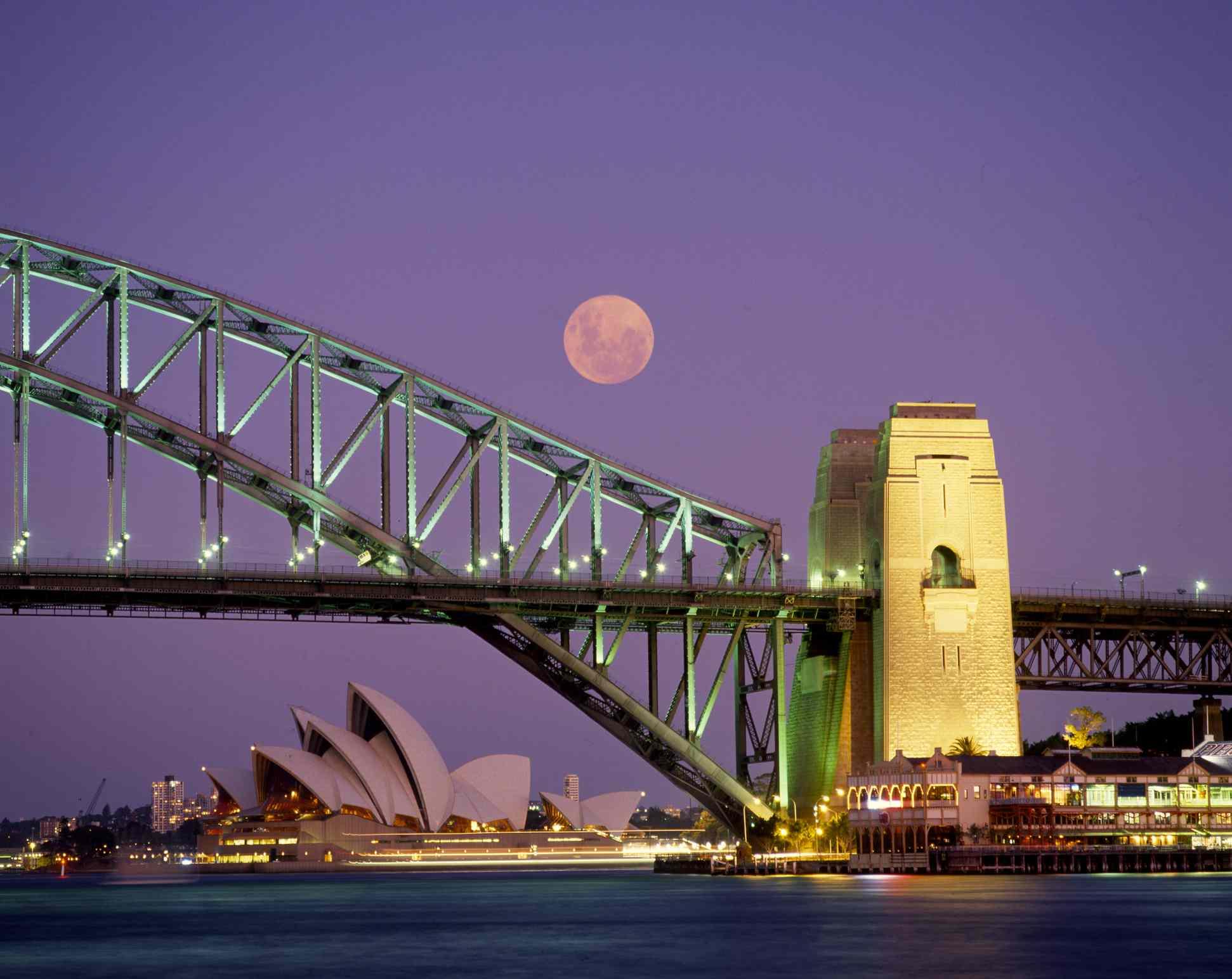 Sydney Harbour Bridge, Opera House & full moon