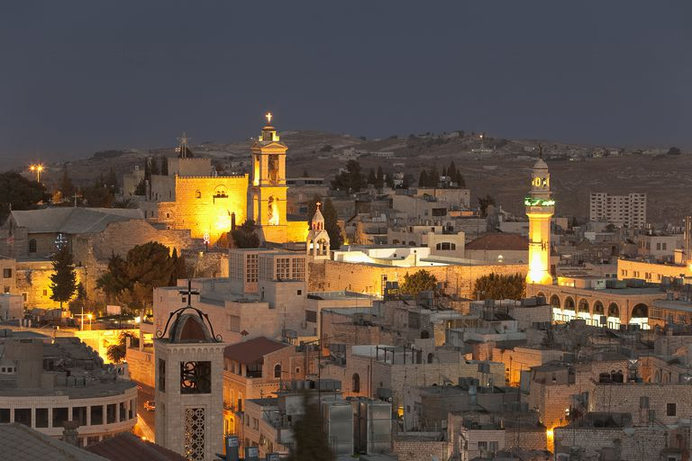 Panoramic View of Bethlehem at Night