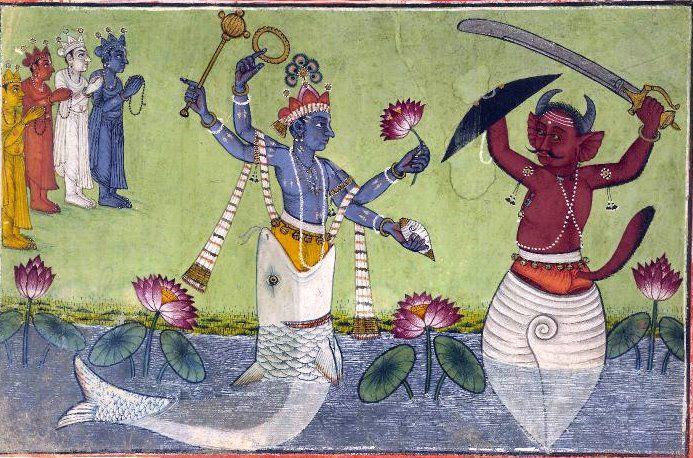 A depiction of Vishnu Matsya (left)