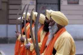 Sikh men marching in a Vaisakhi parade