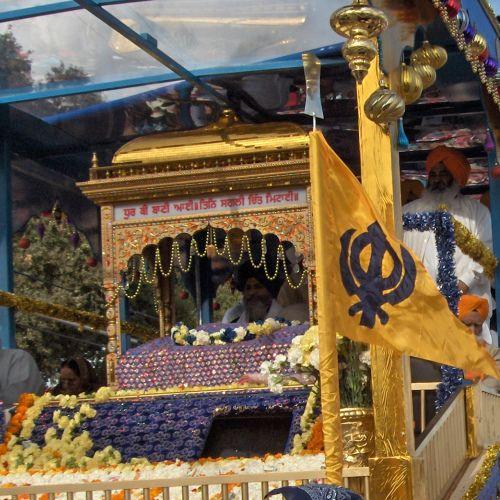 Guru Granth Sahib Float in Yuba City Annual Sikh Parade