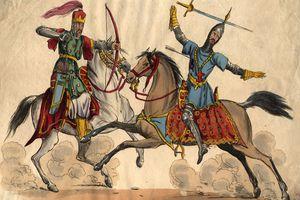 Circa 1250, A crusader is shot by a Muslim warrior during the Crusades.