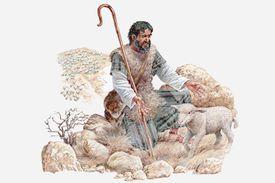 Illustration of shepherd finding his lost sheep, Gospel of Matthew