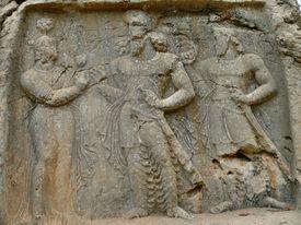 Possibly Anahita with Ardashir I and Shapur.