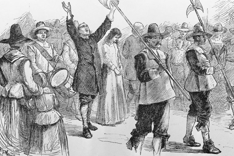 Illustration of Mary Dyer, William Robinson, and Marmaduke Stevenson Walking to Their Execution