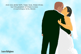 Bride and groom embracing. Text reading,