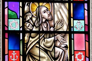 Stained-glass of the Agony in the Garden in St. Mary's Church, Painesville, OH. (© Scott P. Richert)