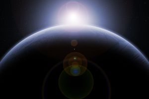 Lens flare on an image of a planet