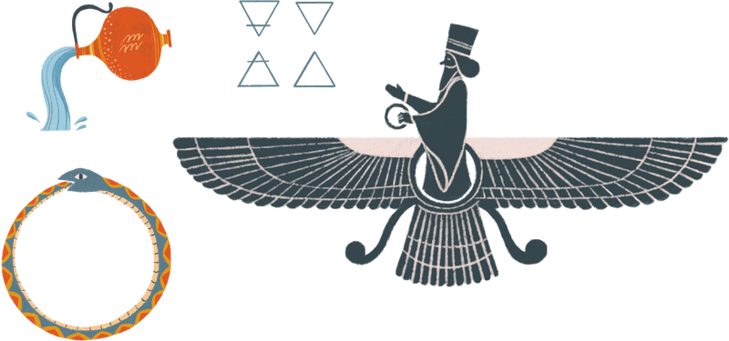 Illustrated symbols of several religions, including the Faravahar, Aquarius, Ourobors, and elemental symbols.