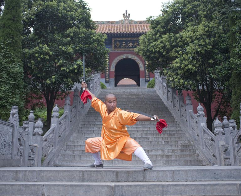 Kung Fu Monk Warrior in Shaolin Temple China.