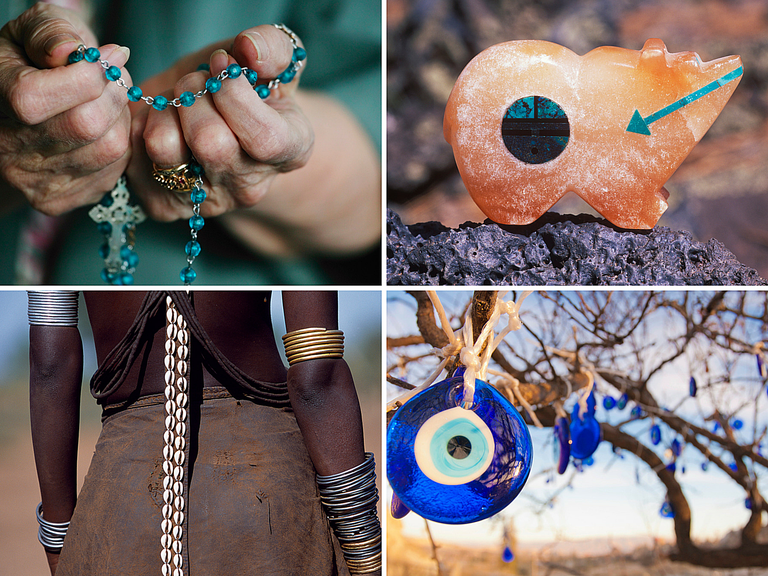 a collage of colorful amulets and charms