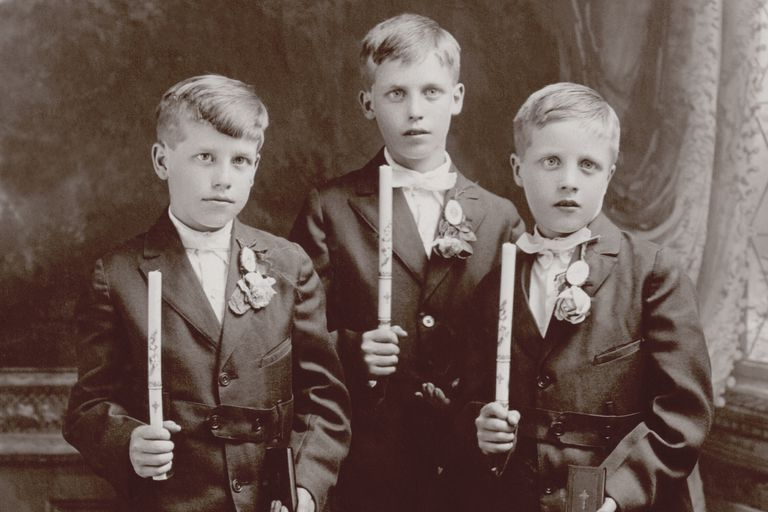 Early 1900's vintage photo of three boys at their Confirmation.