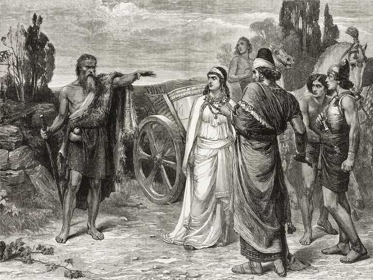 Illustration of Elijah meeting Ahab and Jezebel in Naboths vineyard, by Frank Dicksee