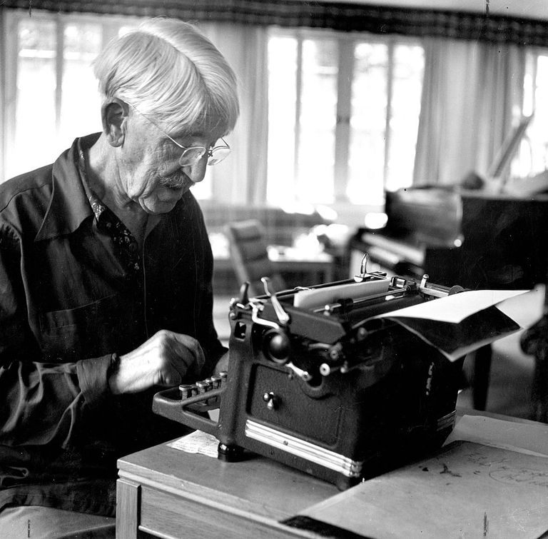 John Dewey at Typewriter