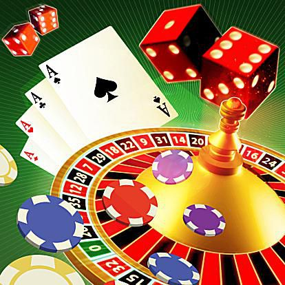 Gambling With Roulette Wheel, Playing Cards, Chips and Dice