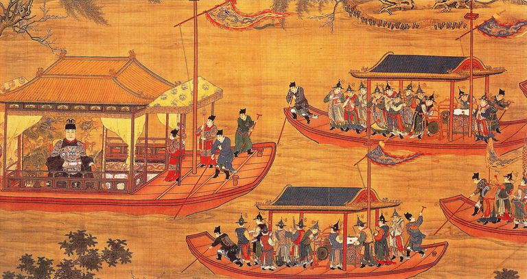 Jiajing on his state barge. Scroll c. 1538