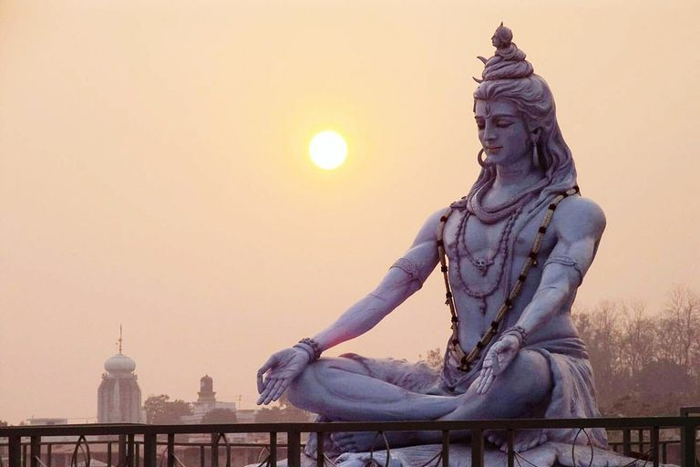 Shiva Statue Against Sky During Sunrise