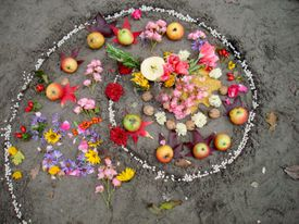 Magic spiral works. Witchcraft and wicca altar, pagan religion.