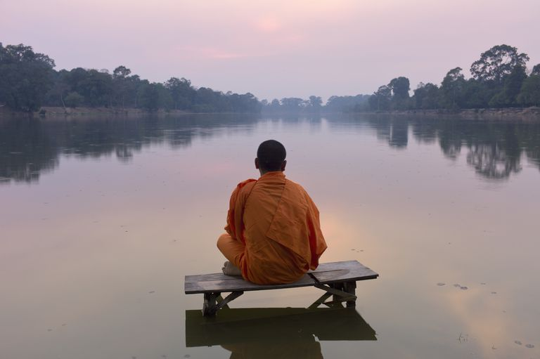 Angkor Wat,Buddhist monk at sunset