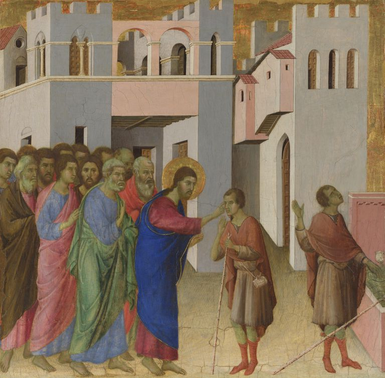 Painting of The Healing of the Man born Blind by Duccio di Buoninsegna