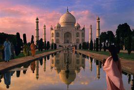 Visitors at India's Taj Mahal at Dusk