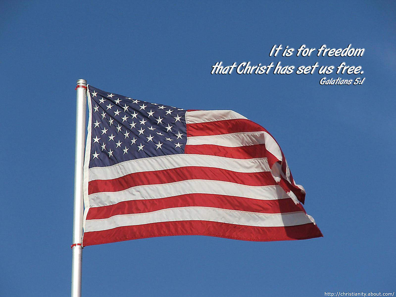 United States Flag with bible verse