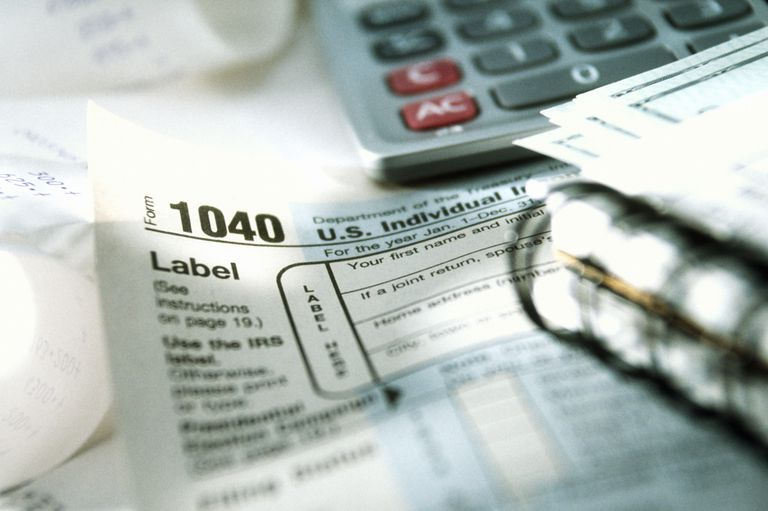 Tax forms , receipts , and calculator