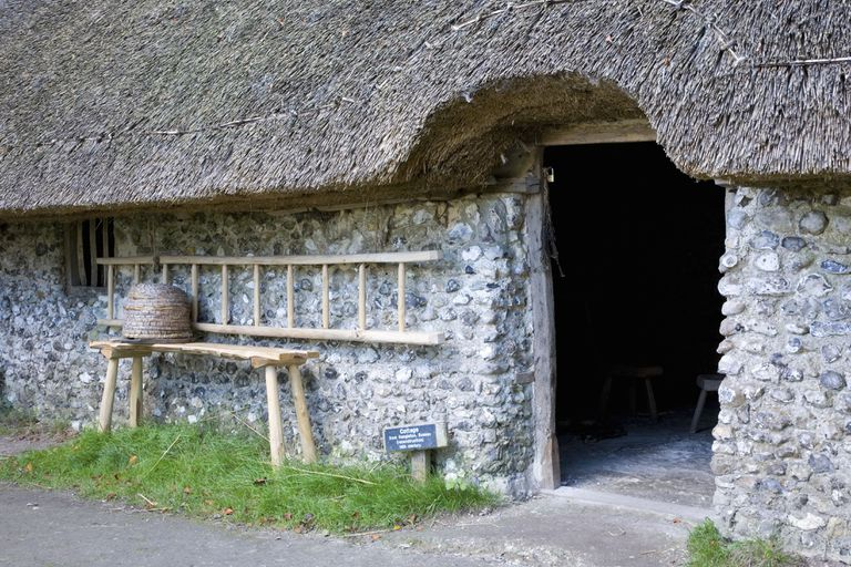 Entrance to 14th century thatched cottage at the Weald and Downland Open Air Museum