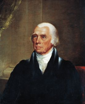 Portrait of James Madison (Port Comway, 1751-1836), American politician, President of the United States of America, Painting by John Trumbull (1756-1843)