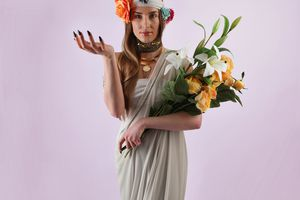 Woman and bouquet of spring flowers