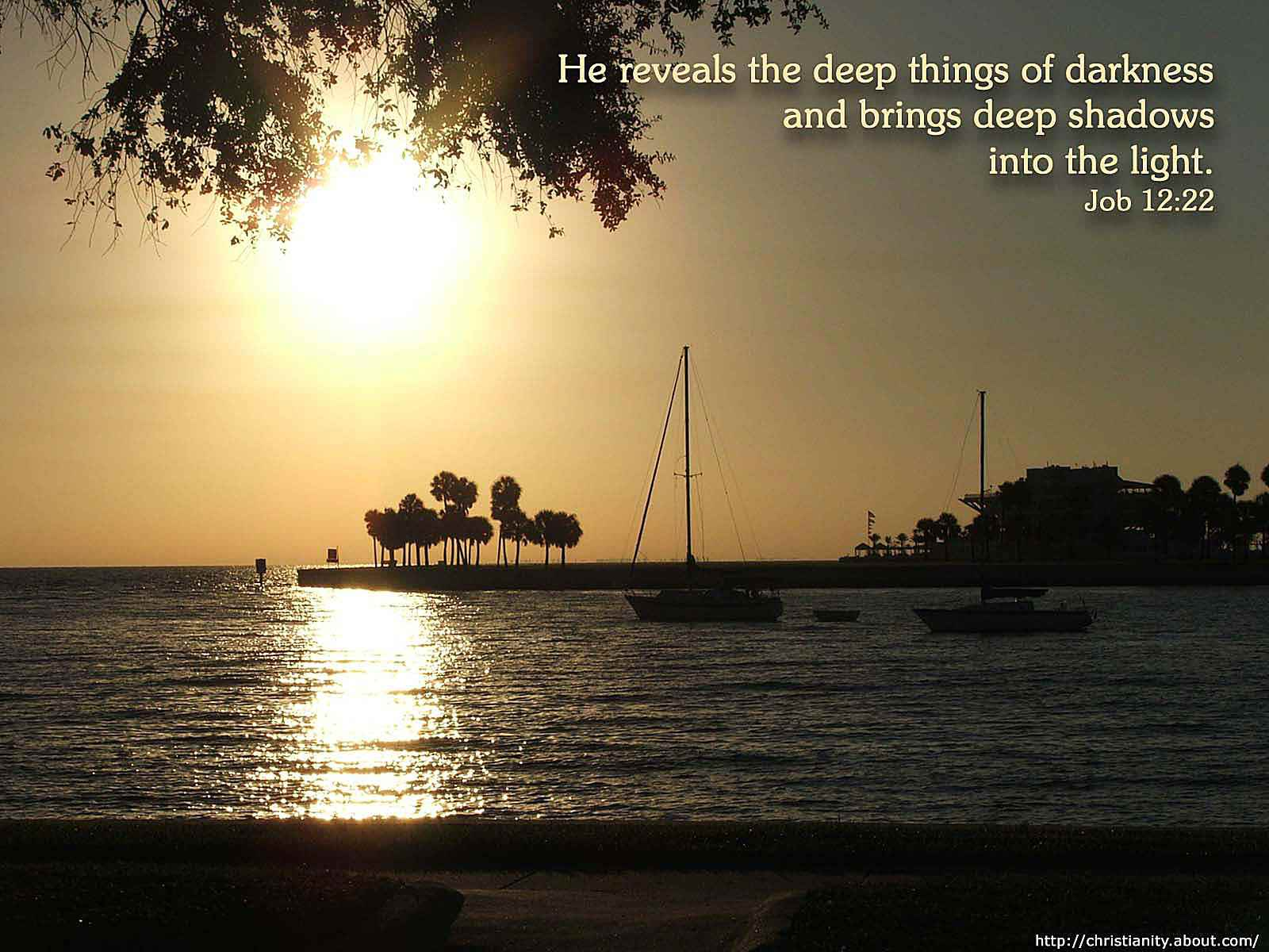 Sunset Boats on Water with bible verse