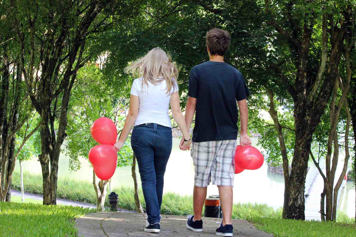 Valentine's Day Couple with Heart Balloons