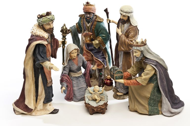 Three wise men, virgin Mary, St Joseph and baby Jesus on white background