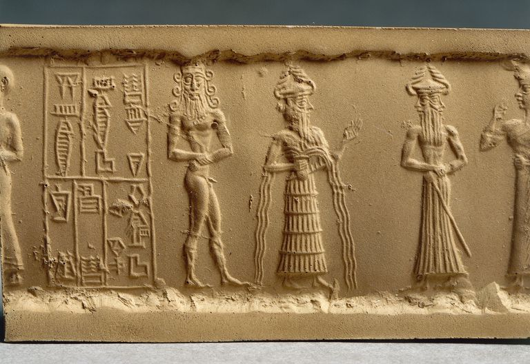 Clay impression of a cylinder seal depicting adoration scene from Nippur, Iraq, detail, Akkadian civilization, 2330-2150 B.C.