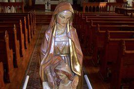 Statue of Saint Anne in Saint Anne's Church, Mackinac Island, Michigan. (Photo © Scott P. Richert)