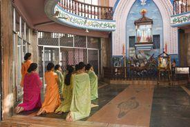 Women worshipping Our Lady of Velankanni.